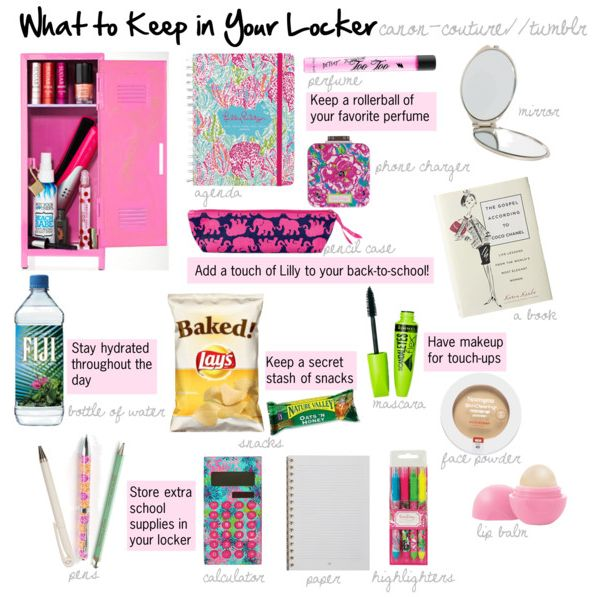 Hey guys, so I made this to show you what I think you should keep in your locker at school! :) An agenda to keep track of homework and assignments A pencil case to store writing tools A phone charger so you can charge your cell during the day A compact mirror for obvious reasons A book so you can read if you have spare time Snacks for if you get hungry Water to stay hydrated throughout the day School supplies (pencils/pens, a calculator, paper, highlighters) Makeup (mascara, face powder, lip…
