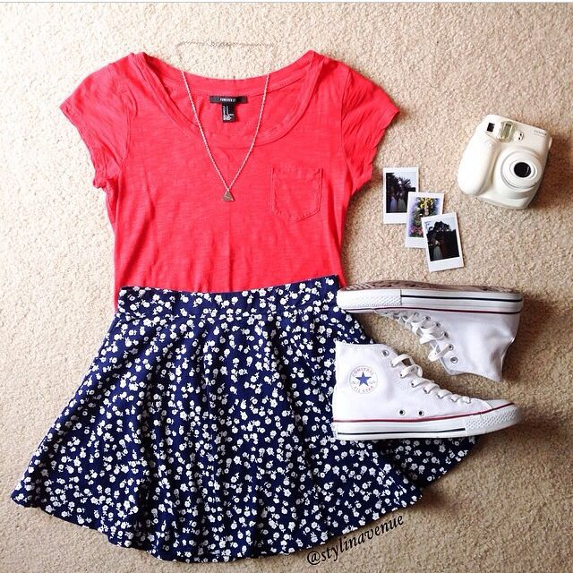Navy and white skirt with pink top and white high tops