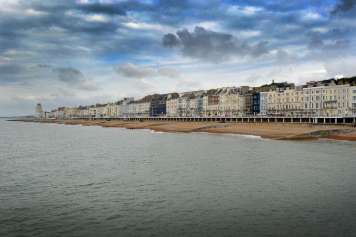 View towards St Leonards on Sea from Hastings Pier. Hastings Seafront/St Leonards Seafront. SUS-160208-151400001