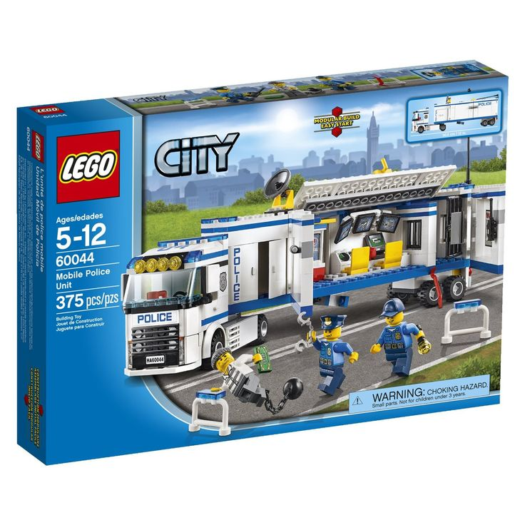 Includes 3 minifigures with assorted accessories: 2 policemen and a crook Features a Mobile Police Unit with control room, 3 surveillance screens, jail, detachable trailer with support legs Also featu