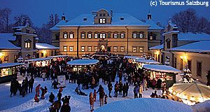 Hellbrunn Palace in winter: Its Christmas Market is famous.