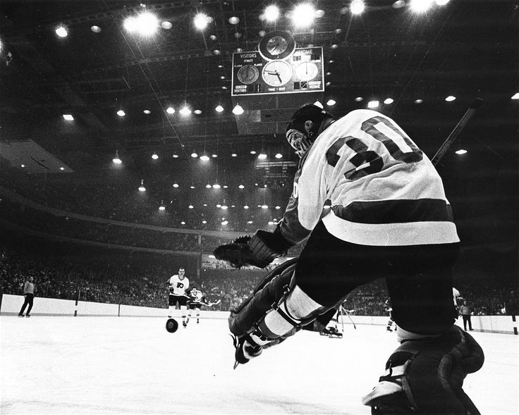 Philadelphia goalie Bernie Parent waits to see in a 1969 game against the Black Hawks at Chicago's Stadium.