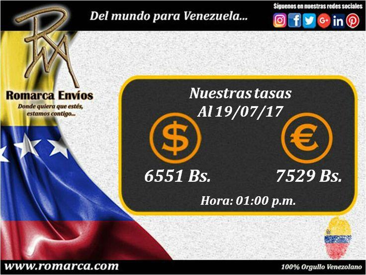 Tasas de cambio 01:00pm #RomarcaEnvios #19Jul #Venezolanos #Emigrantes #dolares #euros #USA #Francia #Alemania ¡Más de 5200 transacciones nos califican como los mejores en el mercado! 💰💲💳