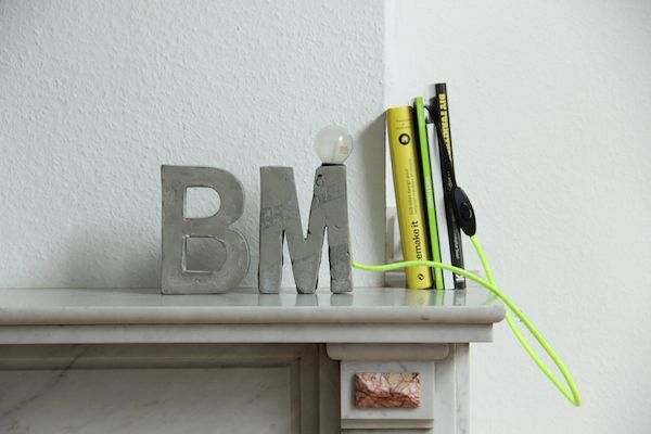DIY Concrete Lamp and Letter Bookend - Neon Yarn