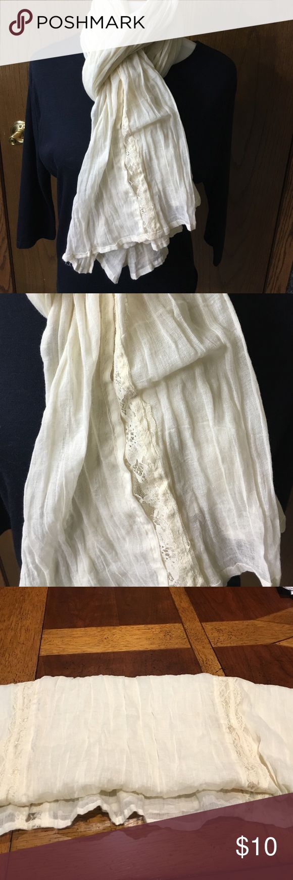 """Off-white scarf with lace insets Off-white scarf with lace insets. 80"""" long by 30"""" wide. Lace inset runs down two sides of scarf. Will go with anything! No brand. EUC s/f p:f Accessories Scarves & Wraps"""