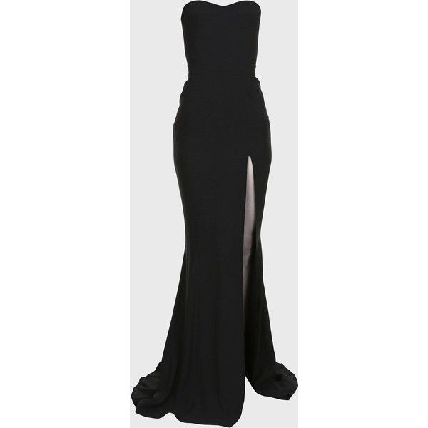 Balmain High slit maxi Dress ($2,940) ❤ liked on Polyvore featuring dresses, gowns, long dresses, vestidos, black, long maxi dresses, slit gown, strapless ball gown, evening maxi dresses and maxi gowns
