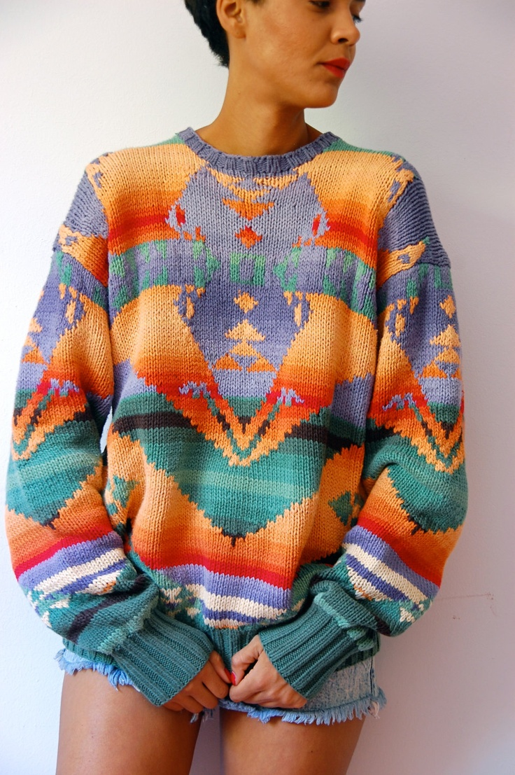 Vtg Ombre Tribal Colorful Print Chunky Cotton Knit Grandpa Sweater