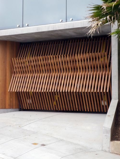 Wooden slatted garage door