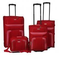 Zestaw 3 walizek + torba pokładowa Travelite w kolorze czerwonym