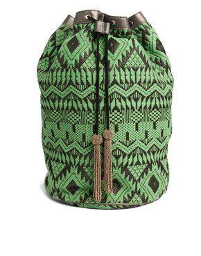 Image 1 of ASOS Metallic Trim Duffle Backpack in Geo-Tribal