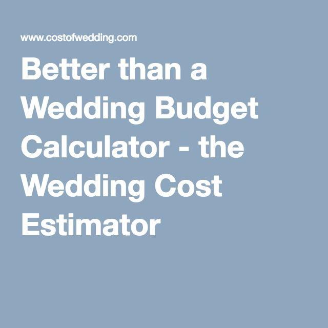 Better than a Wedding Budget Calculator - the Wedding Cost Estimator
