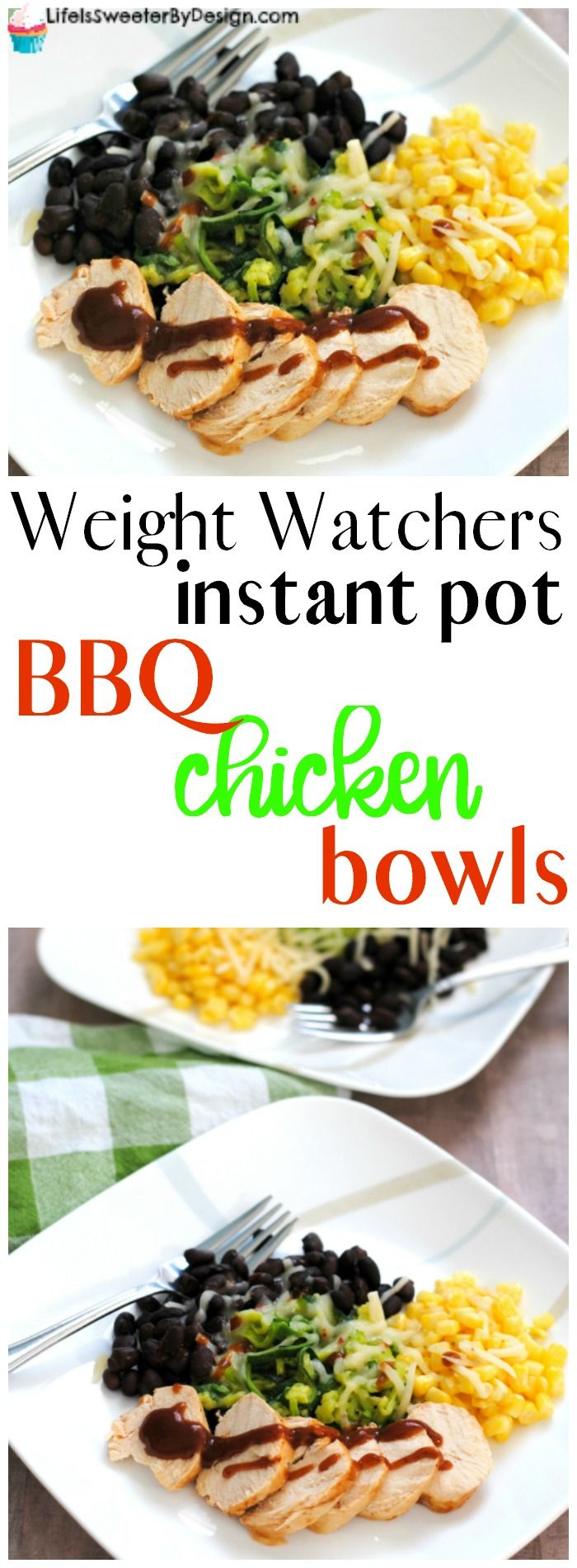 Weight Watchers Instant Pot BBQ Chicken Bowls are easy and delicious. Only 3 Freestyle SmartPoints per serving makes a low point lunch or dinner. Such a great Weight Watchers recipe for your meal plan.