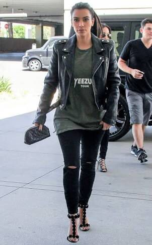 Leather and rock chic. Kim Kardashian