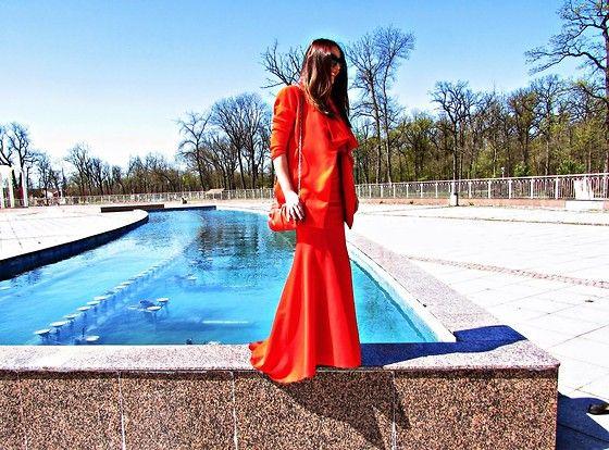 Sheinside Red Strapless Maxi Dress, Romwe Lapel Self Tie Coat