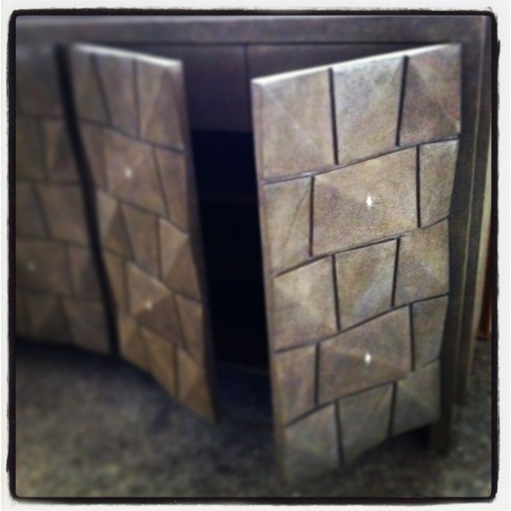 Cabinet with facets made of shagreen #karageorgiou
