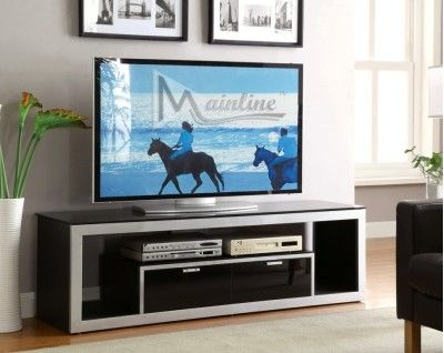 41029Akira TV Stand Akira TV Stand, Featuring Simple Geometric-Line Design and Drawer Storage, in Sleek Metalic Silver and Glossy Black Finish 66