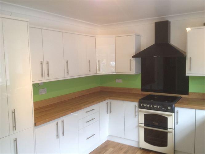 white gloss slab kitchen wood worktop - Google Search