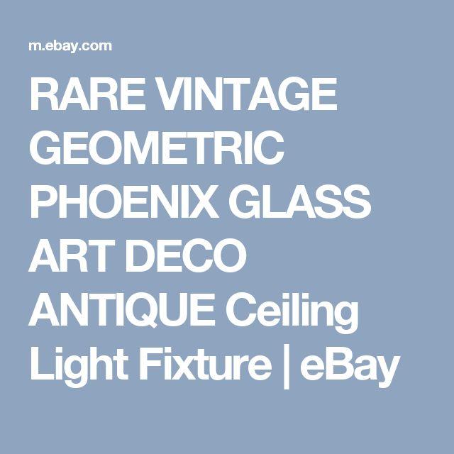 RARE  VINTAGE GEOMETRIC PHOENIX GLASS ART DECO ANTIQUE Ceiling Light Fixture   | eBay