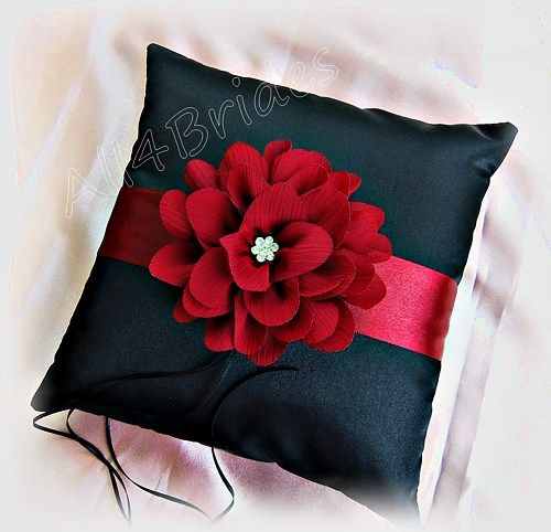 Wedding, Apple Red and Black ring bearer pillow, ring cushion