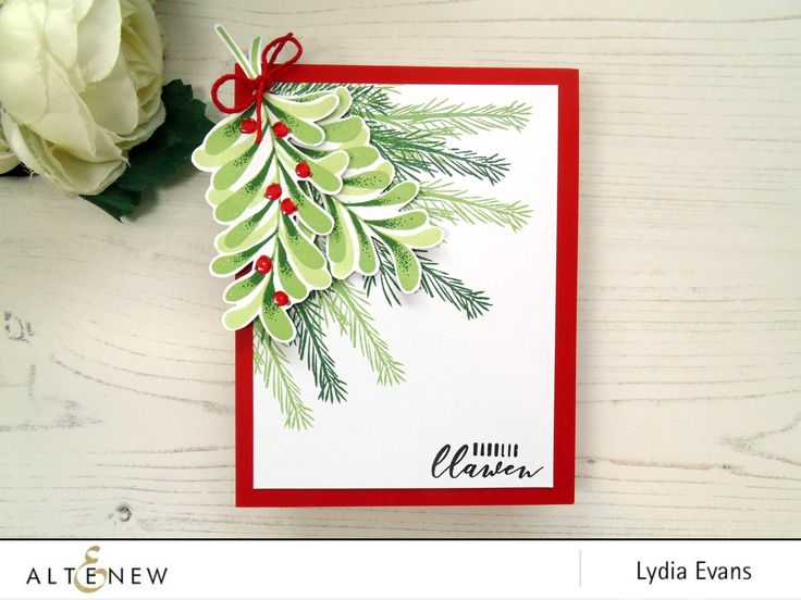 Christmas card featuring the Majestic Mistletoe Stamp Set. www.altenew.com