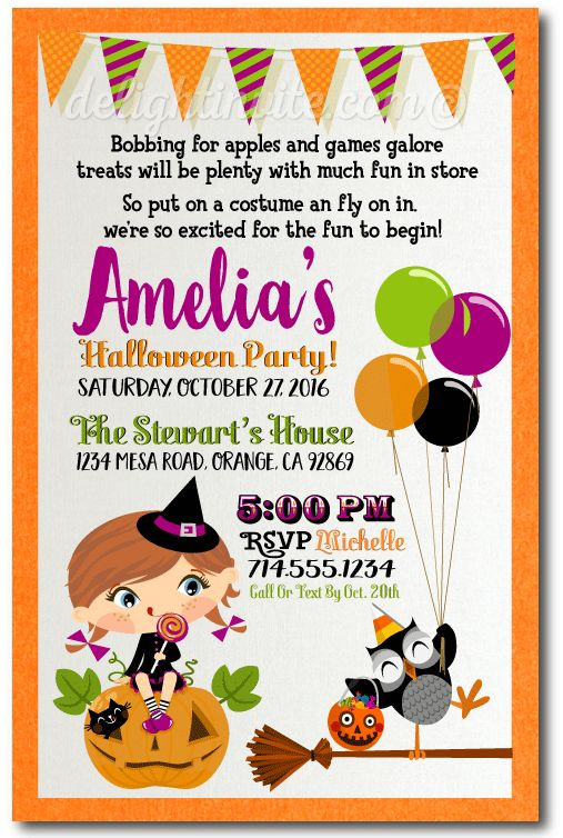 Kids Halloween Costume Party Invitations, Halloween theme birthday invites for kids, printed Halloween birthday invitations