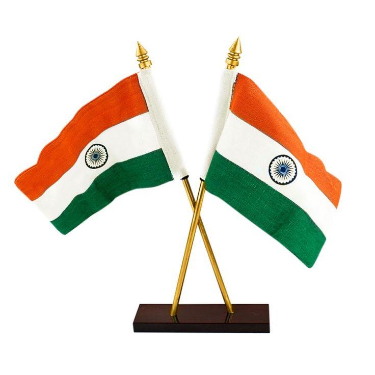 Double Sided Indian Flag Khadi Cotton Medium Size with Metal Base