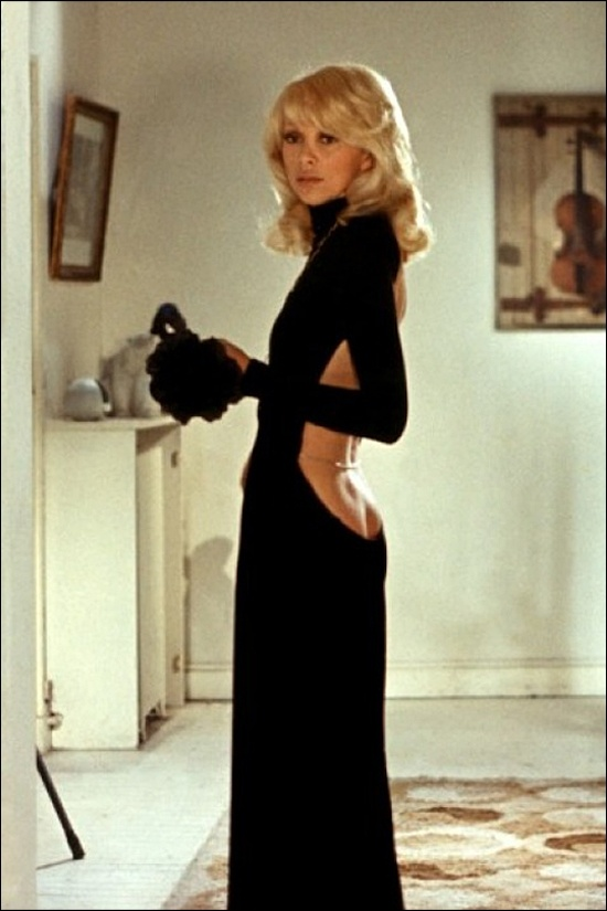 "Mireille Darc in a Guy Laroche dress from ""The Tall Blond Man With One Black Shoe"". Repinned by www.fashion.net"