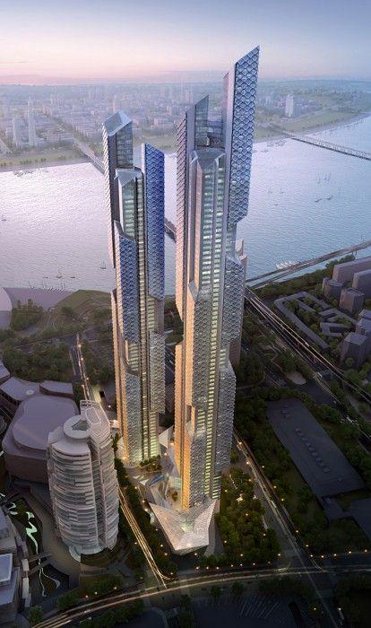 AS+GG _ Distrito Económico Yongsan en Corea: Building, Adrian Smith, Seoul, Modern Metropolis, Twin Towers, Gill Architecture, Dance Dragon, Architecture Design, South Korea