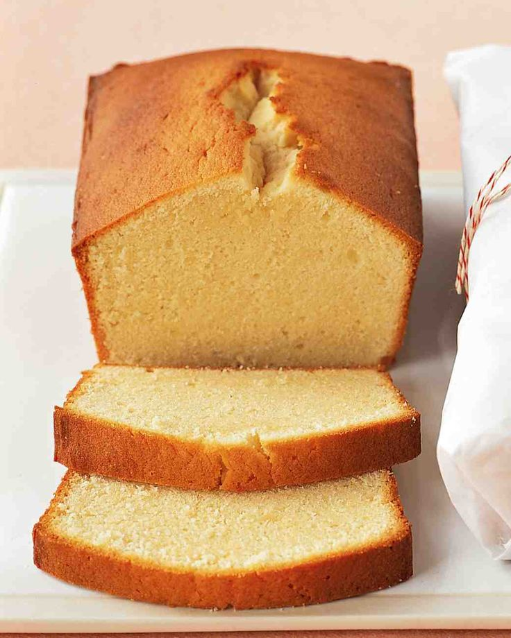 Cream-Cheese Pound Cake from Martha Stewart. INGREDIENTS: 1 1/2 cups (3 sticks) unsalted butter, room temperature; 1 bar (8 ounces) cream cheese, room temperature; 3 cups sugar; 6 large eggs; 1 teaspoon vanilla extract; 3 cups all-purpose flour; 2 teaspoons salt; Nonstick cooking spray. DIRECTIONS: Preheat oven to 350 degrees. With an electric mixer, beat butter and cream cheese until smooth. Add sugar; beat until light and fluffy, about 5 minutes. Add eggs, one at a time, beating well after…