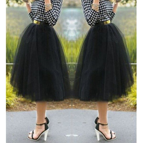 Wholesale Endearing Solid Color Gauzy Fluffy Layered Skirt For Women Only $5.38 Drop Shipping | TrendsGal.com