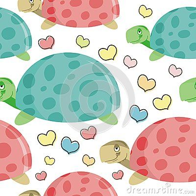 Turtle cartoon seamless pattern with tree and leaf