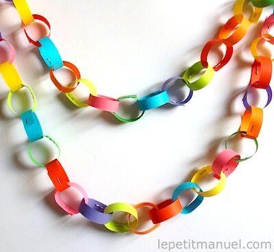 Carnaval ; guirlandes colorées.  bandes de papier de 1 cm de largeur sur 30 cm de longueur que nous avons raccourci à 10 cm agrafées les unes aux autres