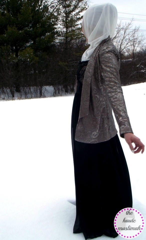 haute muslimah modest fashion trends abaya long dress sparkly blazer jacket white hijab trends scarf chic sophisticated covered