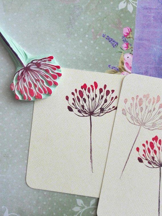 Dandelion rubber stamp, floral garden stamp, wild flower stamp, cottage wedding stationery, fairy journal supply, vintage flower decor