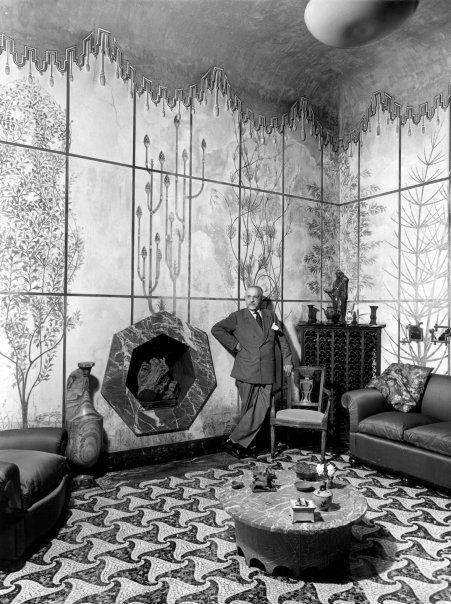 Piero Portaluppi in his 'casa degli Atellani', 1957