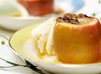 Bakte epler med Snickers og is | Fru Timian