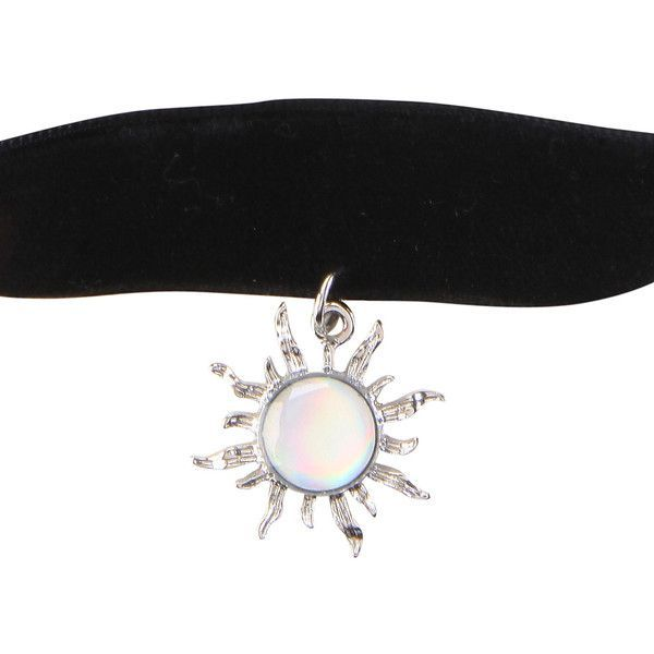 Hot Topic Black Velvet Opal Sun Choker ($4.87) ❤ liked on Polyvore featuring jewelry, necklaces, accessories, chokers, multi, opal pendant necklace, pendant necklace, velvet choker, opal jewellery and pendant jewelry