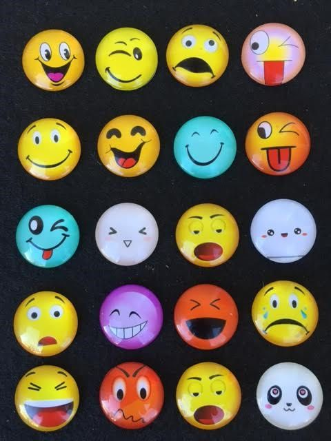 10 EMOJI Glass Cabochons 25mm Emojis Facial Expressions Emoticons Winkey Smiley Face Chat Icons Cabs Pendants Bracelets Jewelry Magnets Mix by theglassconnection on Etsy