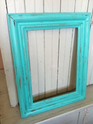 The Baeza Blog: Aqua Distressed Monogram Frame {Vaseline Method}  back it and then put up pictures with thumb tacks and change whenever you want to