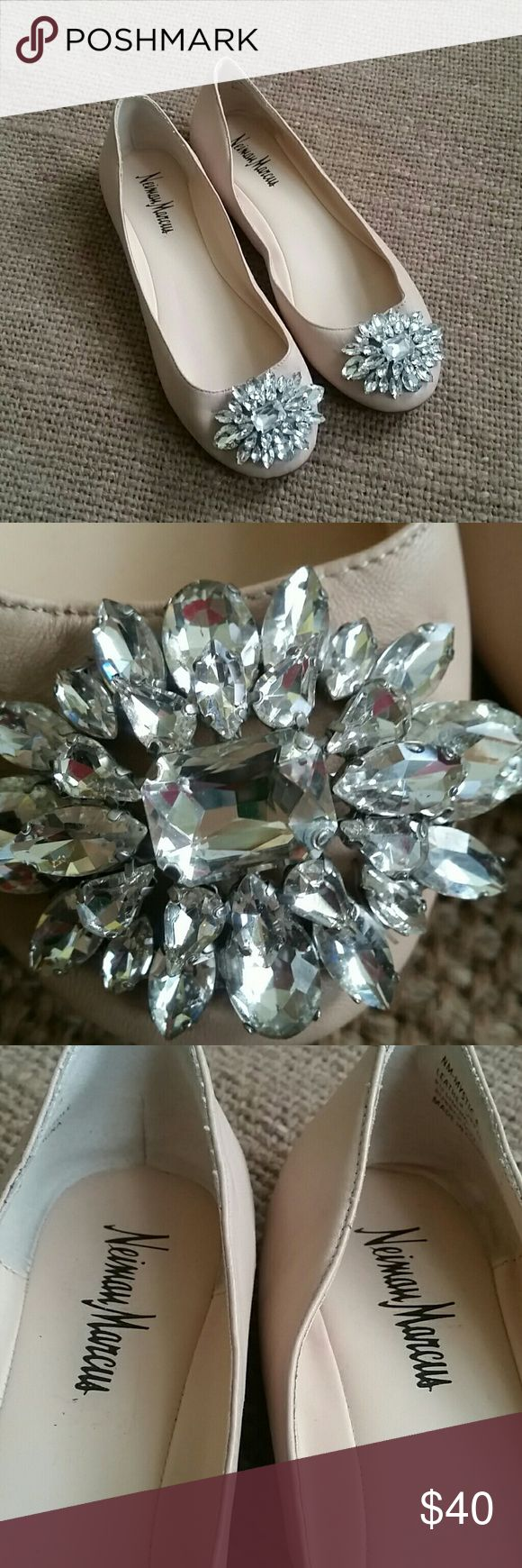 Neiman  Marcus mistic crystal   leather  flats Pre owned good condition, clean inside  gorgeous  jewelry  on front,tips good condition,  scratches  on the back  of the shoes ,check  photos Neiman Marcus Shoes Flats & Loafers