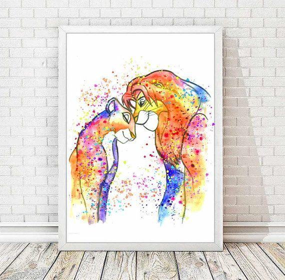 Simba et Nala aquarelle imprimer le Roi Lion aquarelle imprimer Disney affiche…
