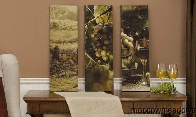New 3 PC Set of Vertical Wine Prints Kitchen Wall Decor Tuscan Picture Grape Art | eBay