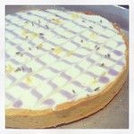 A lavender lemon tart made by Amanda in the office to celebrate the first day of spring.