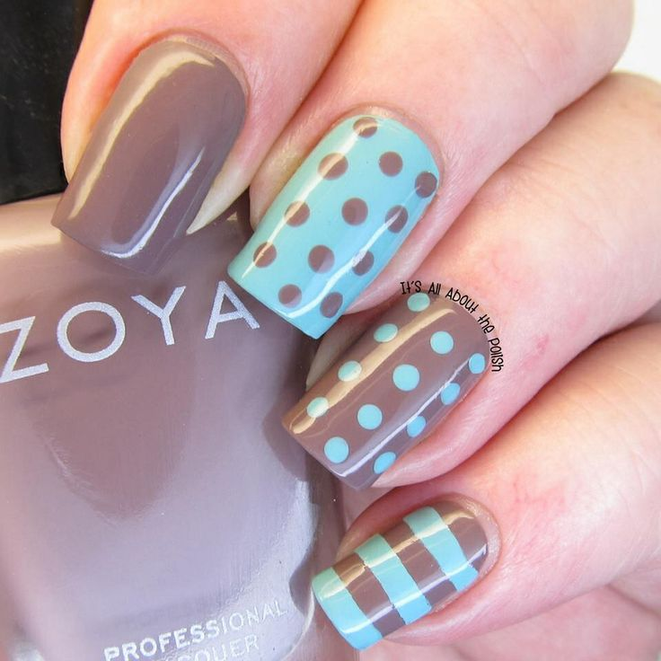 Light blue and taupe nail art