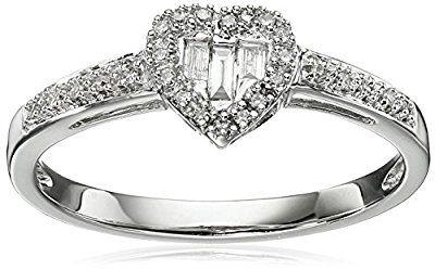 10k White Gold Diamond Baguette Heart Ring (1/10cttw, I-J Color, I2-I3 Clarity), Size 7