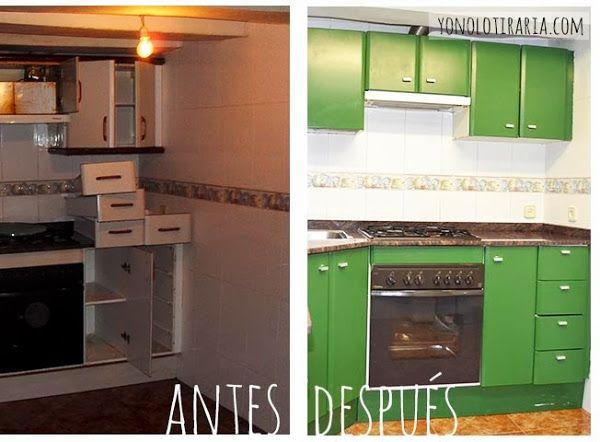 Antes y despu s de una cocina antigua y oscura - Cambiar muebles cocina ...