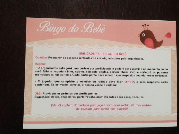 Bingo do Bebê: o tradicional jogo de bingo com cartelas personalizadas com itens do enxoval do bebê. Este jogo pode ser personalizada com o nome do bebê e outras solicitações sob encomenda.    Contém: 1 folha de instruções + 30 cartelas de bingo 10 cm x 8 cm + 1 saco (feito em tecido de algodão) ...