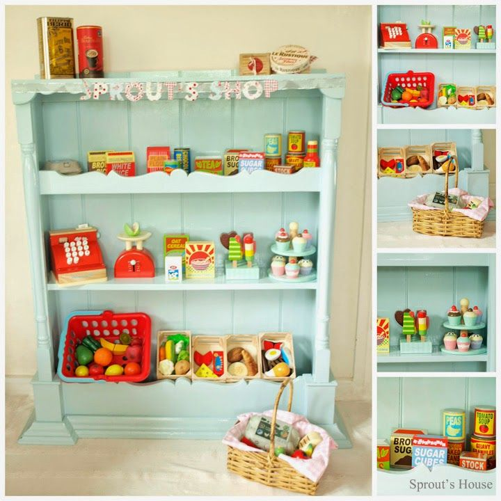 Make this wonderful play shop/store from n old shelving unit. #DIY Tutorial | Sprout's House