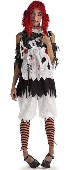 Déguisement poupée de chiffon zombie femme : ce déguisement poupée de chiffon zombie femme Halloween comprend la tunique, le pantalon avec leggings attaché et la perruque pour Halloween et fêtes. déguisement zombie femme