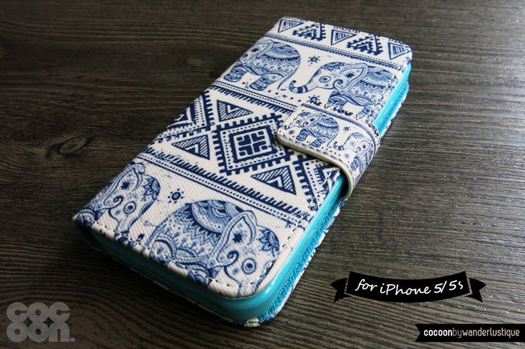 iPhone 5s Wallet . iPhone 5 Case Wallet - Indian Tribal Elephant Print iPhone 5 Wallet Case // Indigo, Asian, Geometric, Boho, Flip Case by CocoonByWL on Etsy